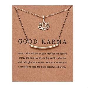 Jewelry - Dainty gold Good Karma charm necklace pendant